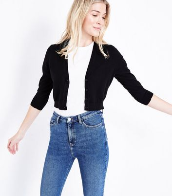 Black 3/4 Sleeve Cropped Cardigan
