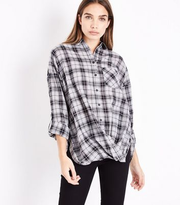 Grey Check Twist Hem Shirt