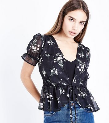 Black Floral Chiffon Frill Trim Cover Up