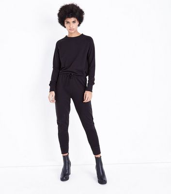 Black Jersey Crew Neck Jumpsuit