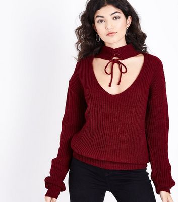 Mela Lace Up Choker Neck Jumper