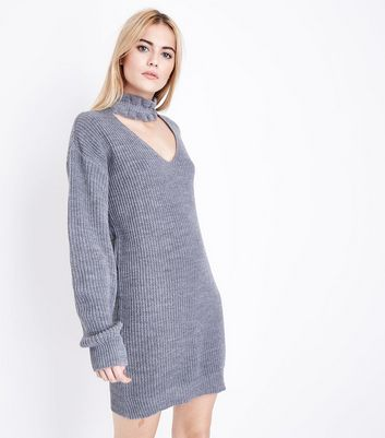Mela Grey Frill Choker Jumper Dress