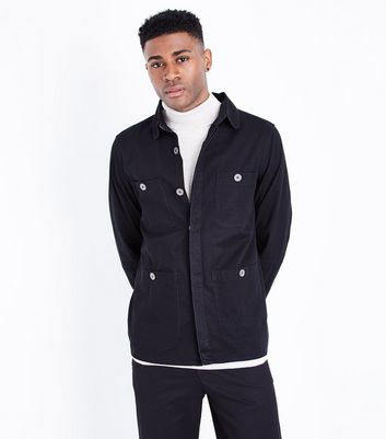 Black Button Front Shacket