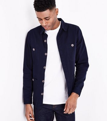 Navy Button Up Shacket