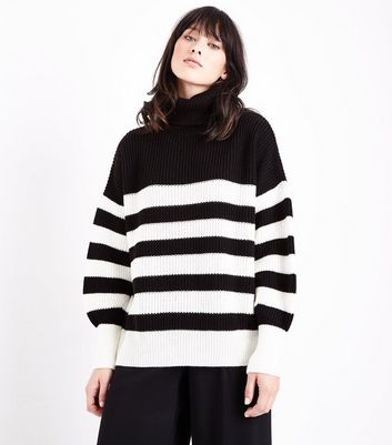 Black Stripe Chunky Roll Neck Jumper
