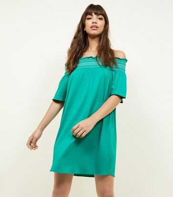 Green Shirred Bardot Neck Beach Dress