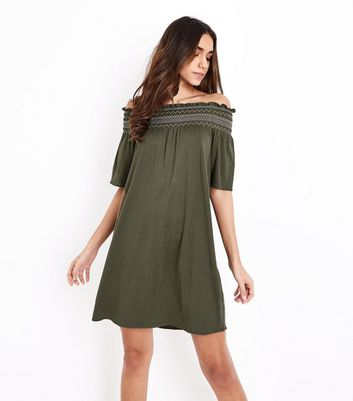 Khaki Shirred Bardot Neck Beach Dress
