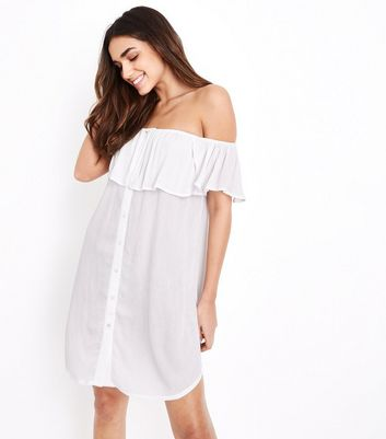 White Bardot Neck Beach Shirt Dress