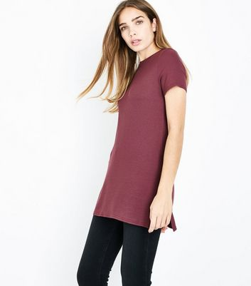 Burgundy Ribbed Tunic Top