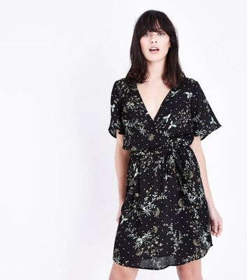Black Ditsy Floral Print Wrap Front Dress