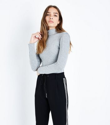 Grey Gathered Sleeve Roll Neck Top