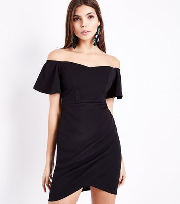 Black Ruched Front Sweetheart Neck Dress