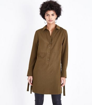 Khaki Eyelet Cuff Shirt Dress