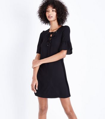 Black Eyelet Lace Up Bell Sleeve Tunic Dress