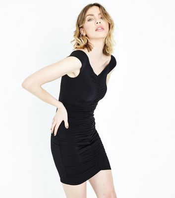 Black Ruched Front Sweetheart Neck Mini Dress