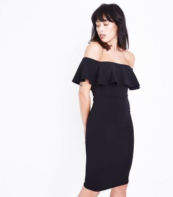 Black Frill Bardot Neck Midi Dress