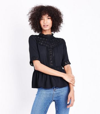 Tall Black Crochet Yoke Peplum Hem Top