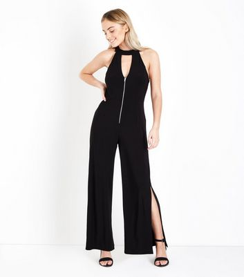 Petite Black Zip Front Split Leg Jumpsuit