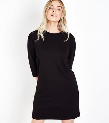 Petite Black 1/2 Sleeve Tunic Dress