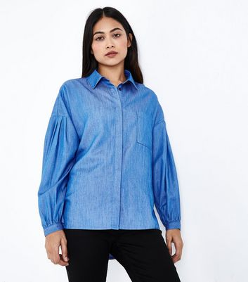 Petite Blue Balloon Sleeve Denim Shirt