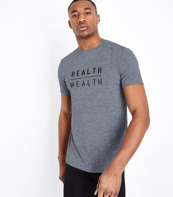 "Grau meliertes Sport-T-Shirt mit ""Health is Wealth""-Print"