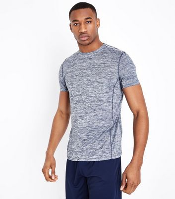 Navy Marl Crew Neck Sport T-Shirt