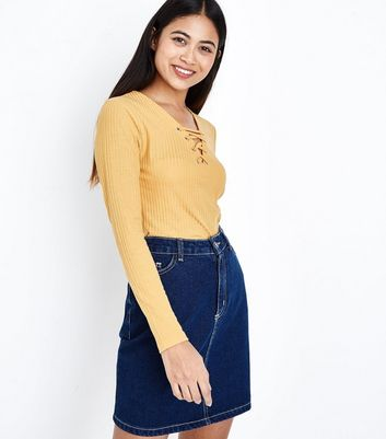 Petite Mustard Eyelet Lace Up Neck Ribbed Top