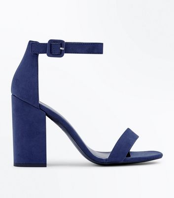 Navy Suedette Block Heel Sandals