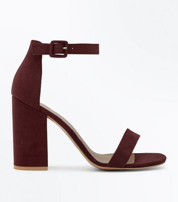 Burgundy Suedette Ankle Strap Block Heels by New Look