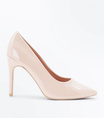 Wide Fit Nude Patent Pointed Court Shoes