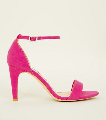 Wide Fit Bright Pink Suedette Ankle Strap Heels