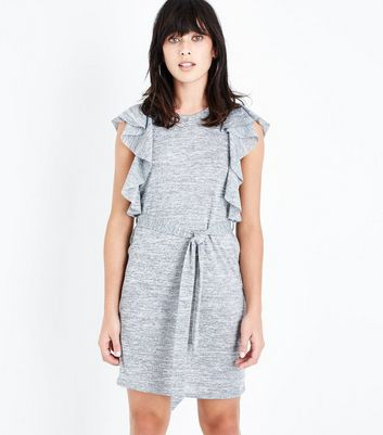 Grey Frill Trim Fine Knit Tunic Dress