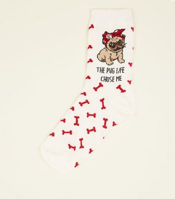 Off White Pug Life Slogan Socks
