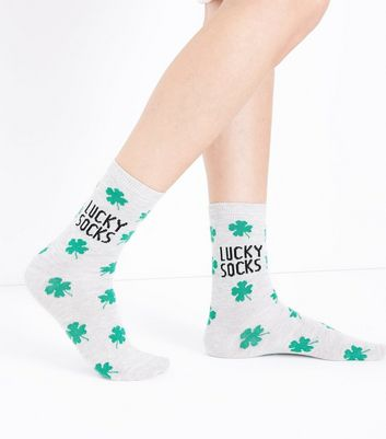 Pale Grey Clover Pattern Lucky Socks