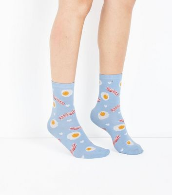 Pale Blue Eggs and Bacon Pattern Socks