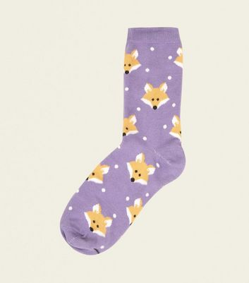 Light Purple Fox Print Socks