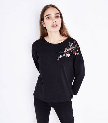 Black Floral Sequin Embroidered Long Sleeve T-Shirt
