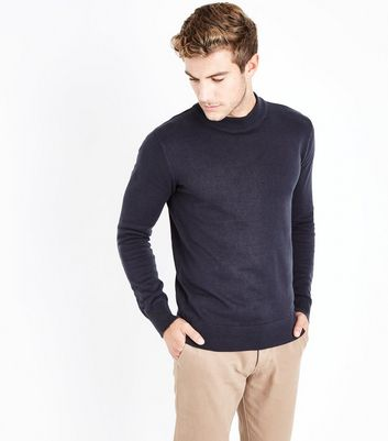 Navy Cotton Funnel Neck Long Sleeve Top