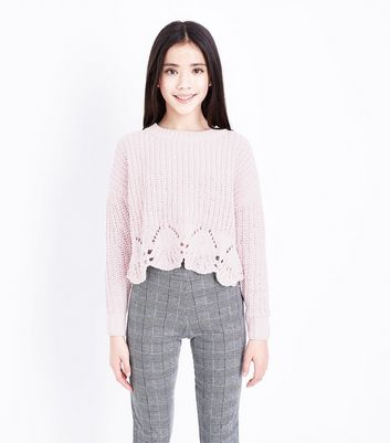 Teens Shell Pink Pointelle Hem Chenille Jumper