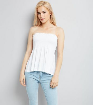 White Shirred Bandeau Top