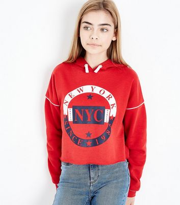 Red New York Logo Piped Sleeve Hoodie