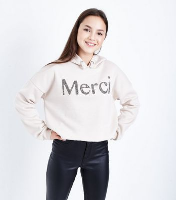 Teens Pale Pink Merci Embellished Slogan Hoodie