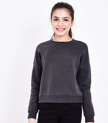 Teens Dark Grey Ripped Sweater