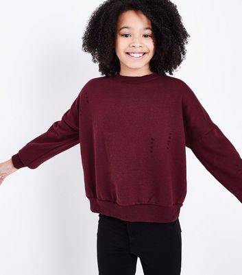 Teens Burgundy Ripped Sweatshirt
