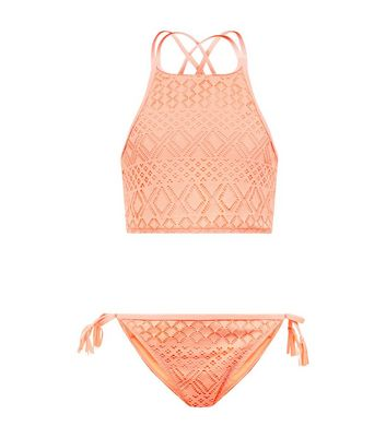 Teens Coral Neon Crochet High Neck Bikini