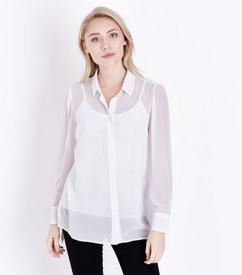 Petite Off White Step Hem Chiffon Shirt