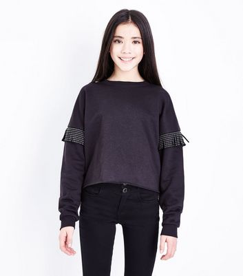Teens Black Studded Tassel Crew Neck Sweatshirt