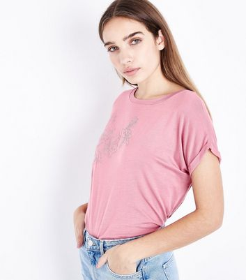 Pink Metallic Floral Embroidered T-Shirt