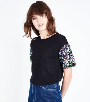 Black Sequin Sleeve T-Shirt