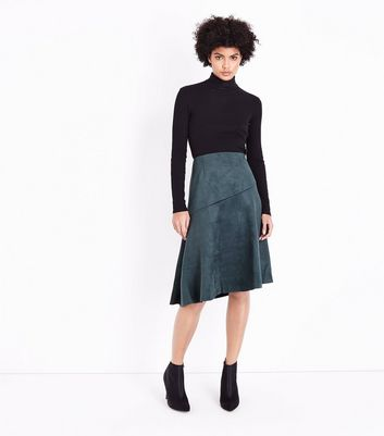Dark Green Suedette Asymmetric Midi Skirt